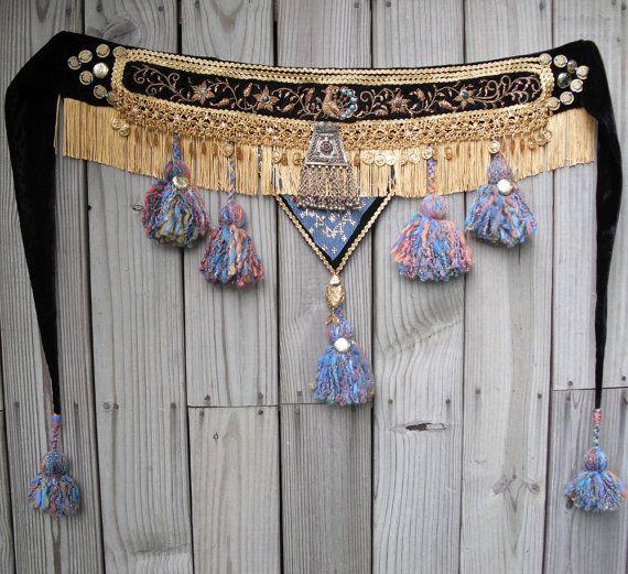 Tribal Belly Dance Tassel Belt Embellished by EmbellishedAssets, $250.00