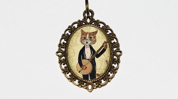 Banjo Cat Necklace Cat Jewelry Banjo Player Oval by TheGoblinCave