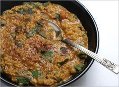 Red lentil soup with ground lamb (can sub ground pork) and swiss chard.