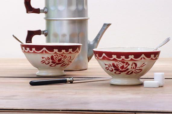 Lot de deux bols à café au lait  Digoin Sarreguemines côtelés  #bowl #bol #boldigoin #Digoin #Digoinbowl #rosedigoin #roses #pink #vintage #frenchvintage #brocante #shabbychic
