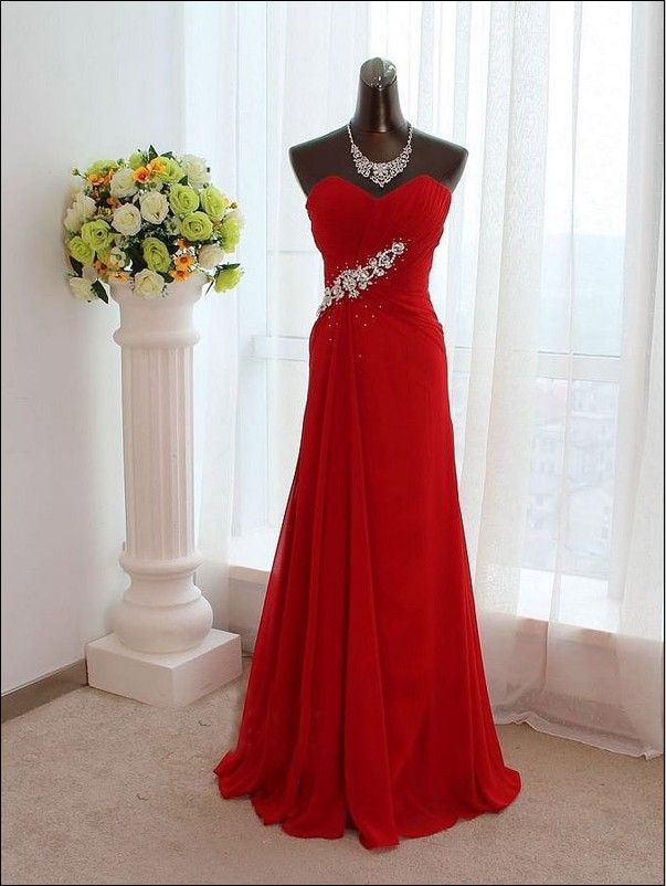 red custom sweet heart long affordable elegant prom dress