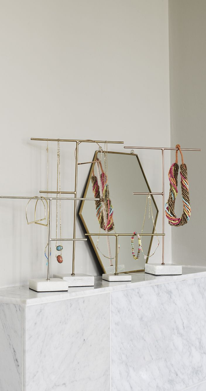 Oliver bonas gold hexagon mirror and copper marble for Sawyer marble jewelry stand