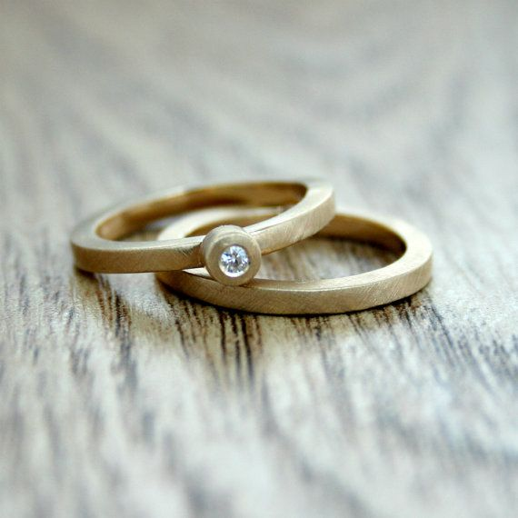 Moissanite Engagement Ring Yellow Gold by VJarmanJewellery on Etsy