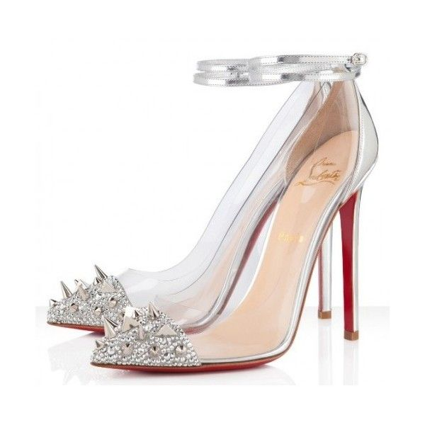 Christian Louboutin Just Picks 120mm Silver Spike Strass PVC Pumps (515 DKK) ❤ liked on Polyvore featuring shoes, pumps, heels, christian louboutin, louboutin, sapatos, pvc pump, silver shoes, mary jane shoes and pointed-toe pumps