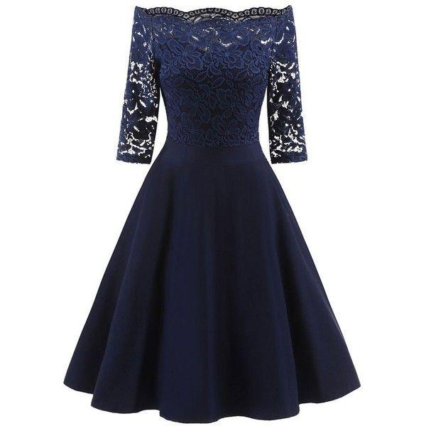 Lace Panel Off The Shoulder Vintage Flare Dress ($20) ❤ liked on Polyvore featuring dresses, blue color dress, off-shoulder dresses, blue off shoulder dress, blue dress and flared hem dress