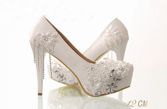 Fringed white lace bridal shoes high with waterproof by Queenheels