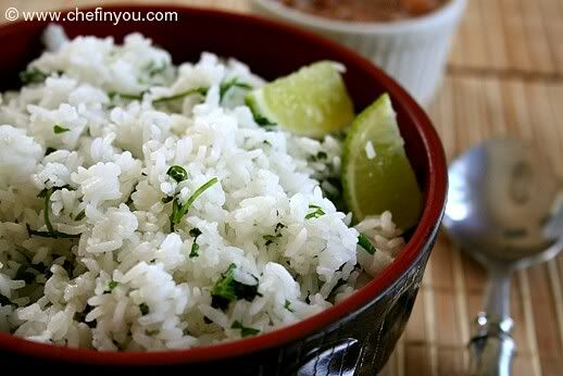 Chipolte Rice  1 cup Basmati or any other long grained rice, rinsed lightly in cold water  1 tsp oil (for that authentic taste use 1 tbsp butter)  1-2 small limes  1/2 tsp sugar (optional)  about 3 tbsp cilantro  salt to taste