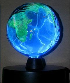 blue planet earth as plasma lamp for little mans science room