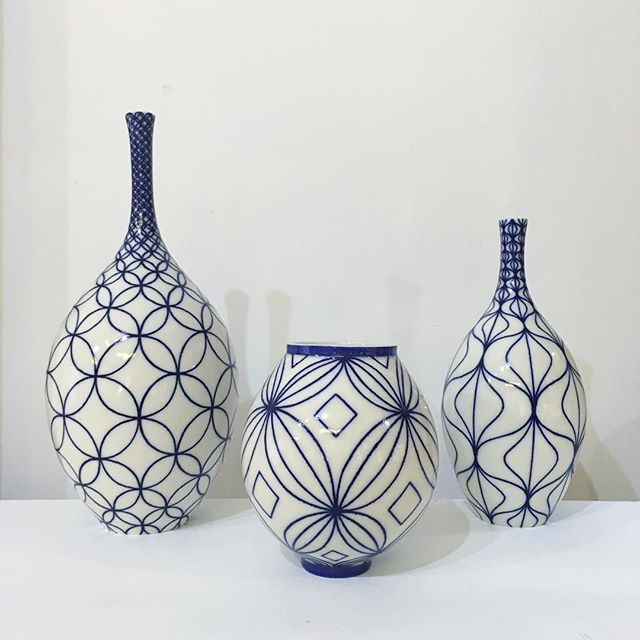 These three were bought today by one lovely lady as three separate gifts, but I couldn't help but notice how well they worked as a group! #ceramics #porcelain #pottery #interiors #design #handmade #blueandwhite #pattern #geometry #handpainted #line