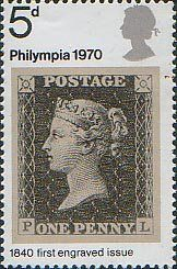 'Philympia 70' Stamp Exhibition 5d Stamp (1970) 1d Black (1840)