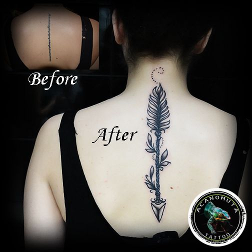 Arrow Tattoo is a good idea to cover up your tattoo .Created by Acanomuta Tattoo Studio.
