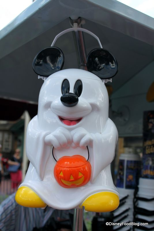 Mickey Mouse Ghost Popcorn Bucket in Disney World -- one of many fun Halloween additions!