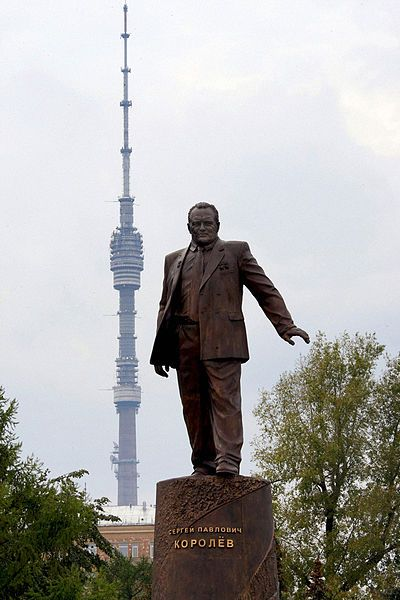 Monument to Sergei Korolyov on Cosmonauts Alley, Moscow. Ostankino Tower is on the background.