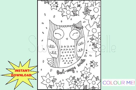 Cute Printable A5 COLORING Page Owl-ways Smile by SweetestChelle