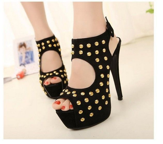 Shop Fashion Black Suede Upper Platform Stiletto Heels Peep Toe Women  Sandals on sale at Tidestore with trendy design and good price.
