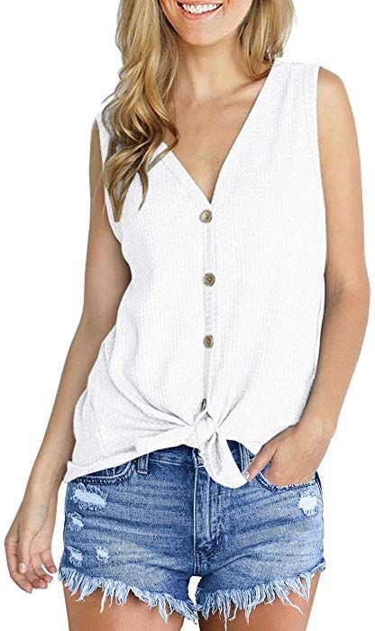 afdbc511d3d47 IWOLLENCE Womens Loose Henley Blouse Sleeveless Button Down T Shirts Tie  Front Knot Tops White S