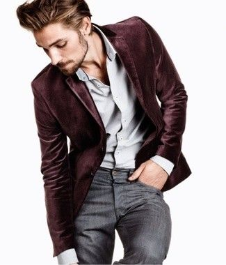 Men's Burgundy Velvet Blazer, Grey Long Sleeve Shirt, Grey Jeans