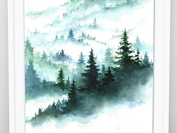 Foggy Forest Watercolor Forest Print Pine Forest Art Print Misty Forest Wall Art Scandinavian Art Forest Nature Wall Art Wilderness Fog
