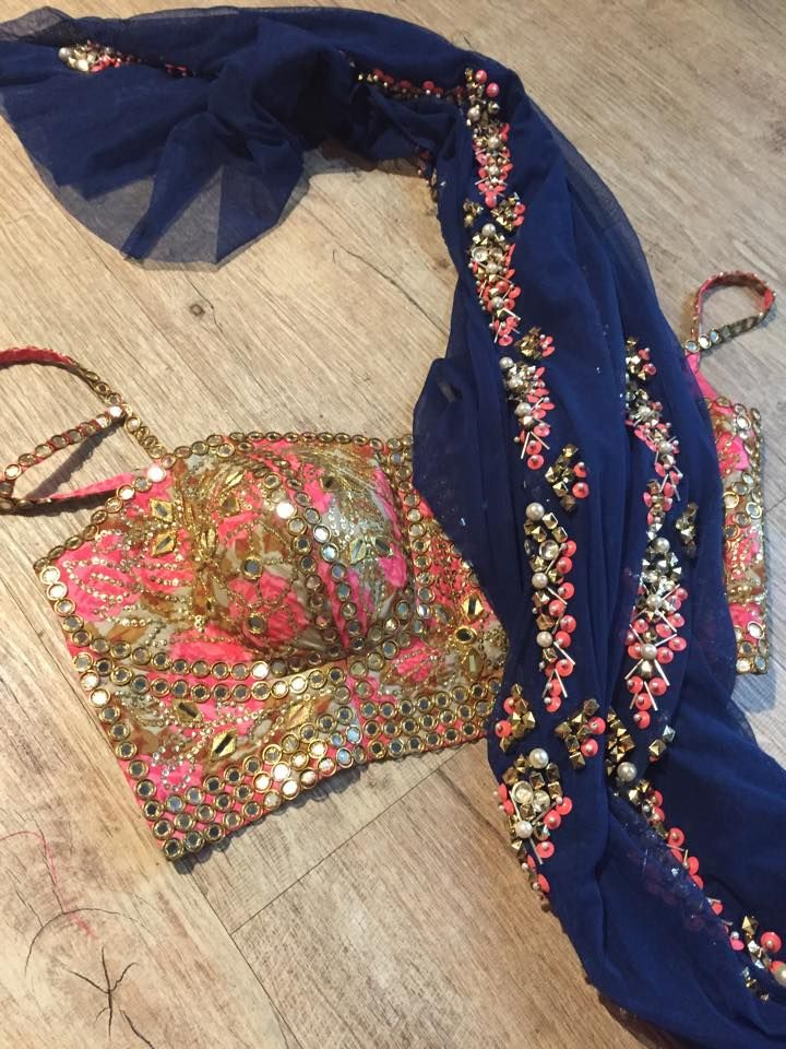 The Most Stunning Mirror Work Pink & Gold #Blouse With Embellished Navy Blue Dupatta By Papa Don't Preach.