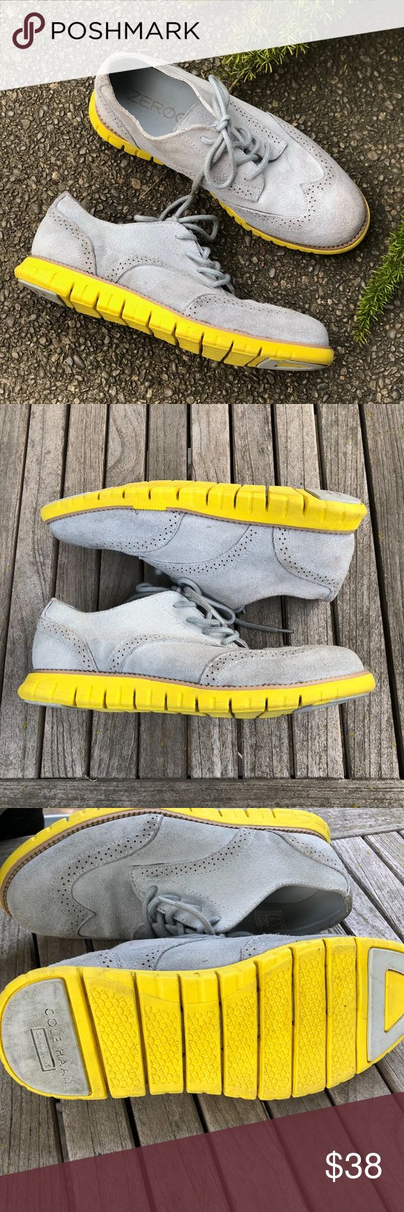 """Cole Haan Zerogrand Gray Suede Wingtip Oxfords These are the coolest shoes for when a boy needs something more than sneakers! Gray Suede Wingtip Oxfords with yellow soles Maker: Cole Haan Zerogrand Listed Size  Boys 6 but could be worn by a woman if you know your size! Approximate measurements : Heel to toe: 11"""" Width at ball of the foot: 4 """"  These have been  worn and show wear on the suede as well as  on the soles- see photos for detail. Overall  good pre-owned  worn used condition and…"""