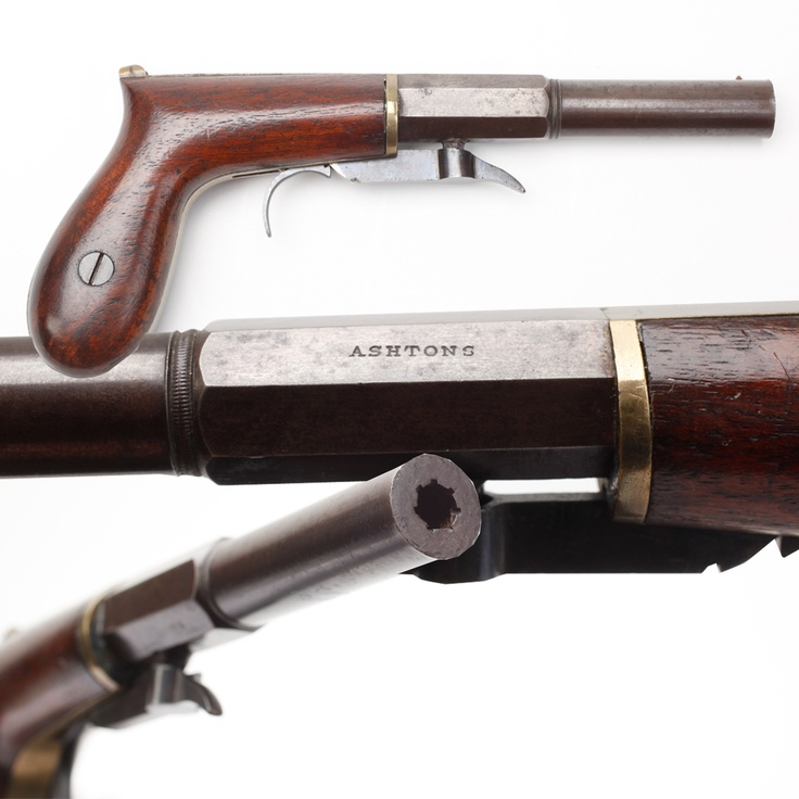 Underhammer Percussion Pistol- The Ashton brothers manufactured this .28 cal pistol in the years prior to the American Civil War. This style handgun was called a bootleg, boot, or even a whipsocket pistol. Featuring a part octagon, part round barrel, these single-shot pistols could be easily carried in the top of one's boot.