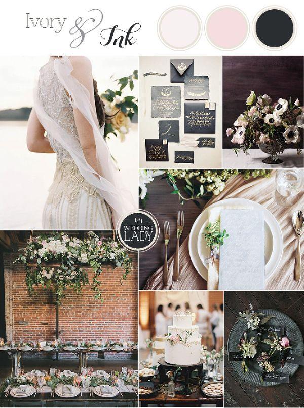 Dramatic Ivory and Ink Wedding | The Best Wedding Inspiration Boards of 2015! - http://heyweddinglady.com/best-wedding-inspiration-boards-2015/