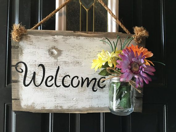 Front door welcome sign Front porch welcome sign by RustiqueSigns & 7 best Front door rustic welcome sign images on Pinterest ... Pezcame.Com