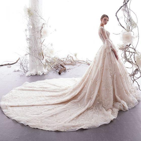Piękne Szampan Suknie ślubne 2019 Princessa Wycięciem Motyl