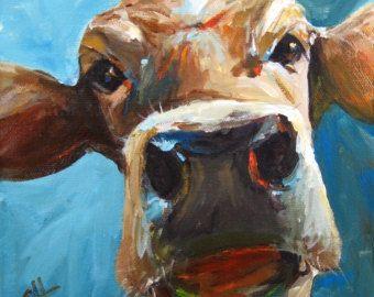 Riproduzione di Giclee pittura - Elise la mucca - mucca su carta allungata tela o d'arte