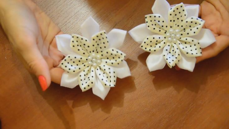DIY  How to make Fabric Flower Chamomile. Hair Pin - Tutorial