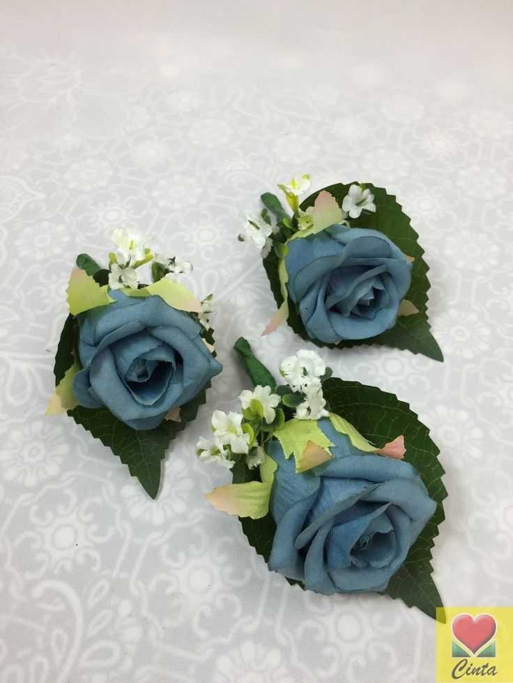 3 X Silk Blue Rose Buttonholes Wedding Silk Flower Cintahomedeco | eBay
