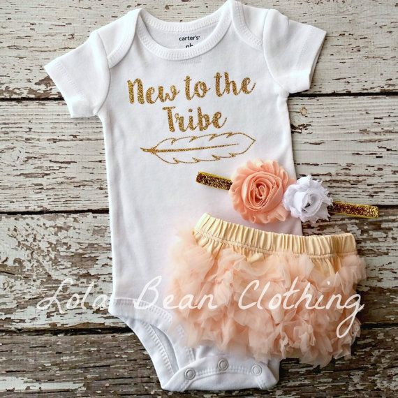 Baby Girl Coming Home Outfit New to the Tribe by LolaBeanClothing
