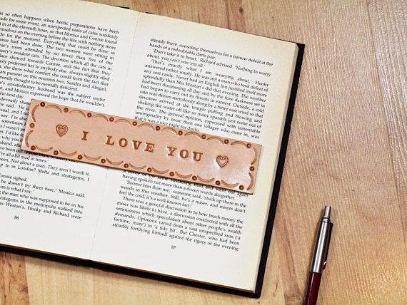 I Love You Bookmark, Leather Bookmark, Handmade Bookmark. Repin To Remember.