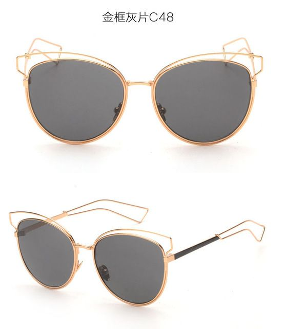 BOUTIQUE New Brand Design Women Alloy Frame High Quality Cat Eye Sunglasses Fashion Women Cat Eye Sunglasses Oculos De Sol Oh Yeah Visit our store