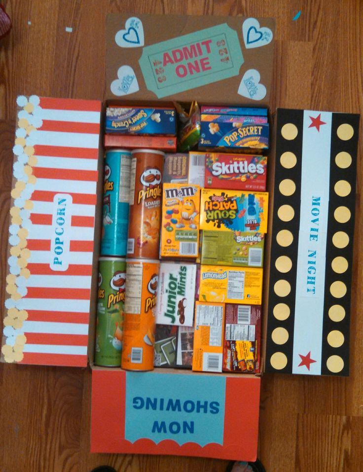 Movie night care package with all kinds of goodies!!!!