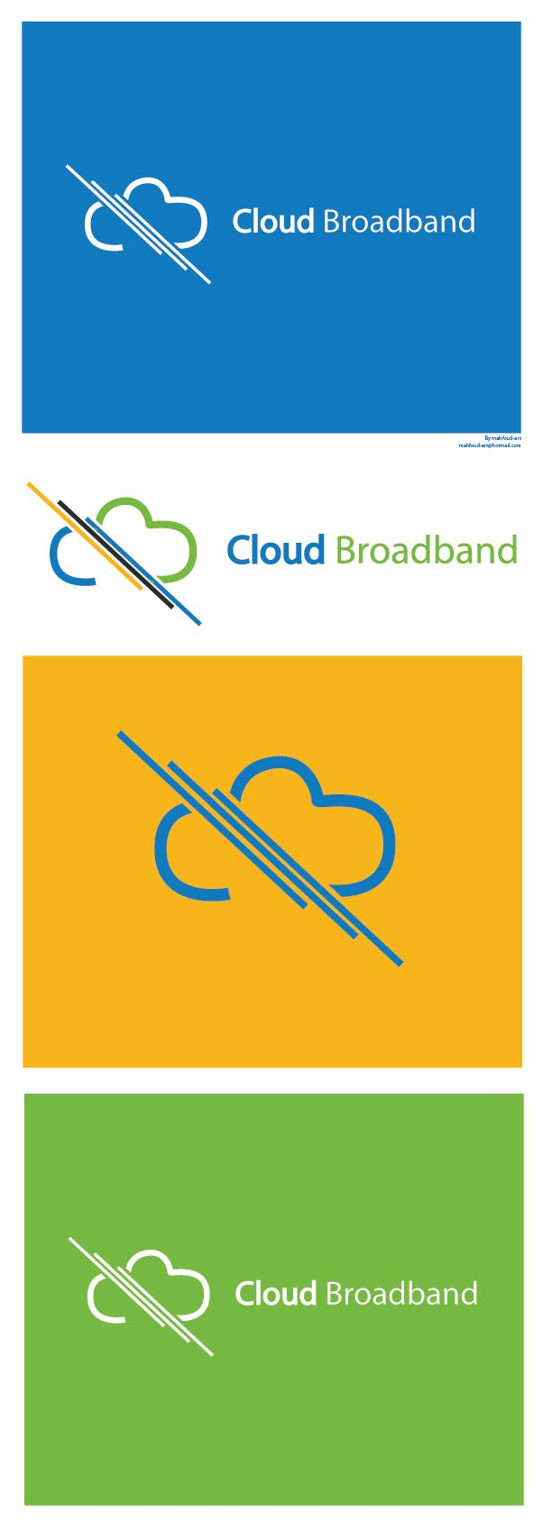 Cloud broadband, logo of a cloud separated by three Cables, logo is available for sale contact me if yo are interested, Mahfoud-art@hotmail.com