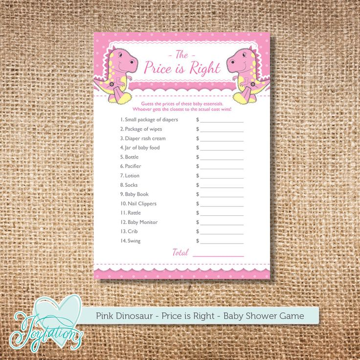 Pink Dinosaur The Price is Right, Baby Shower Game, Girl, Printable Template, DIY Digital File, Instant Download, Polka Dots by Joytations on Etsy https://www.etsy.com/listing/236028824/pink-dinosaur-the-price-is-right-baby