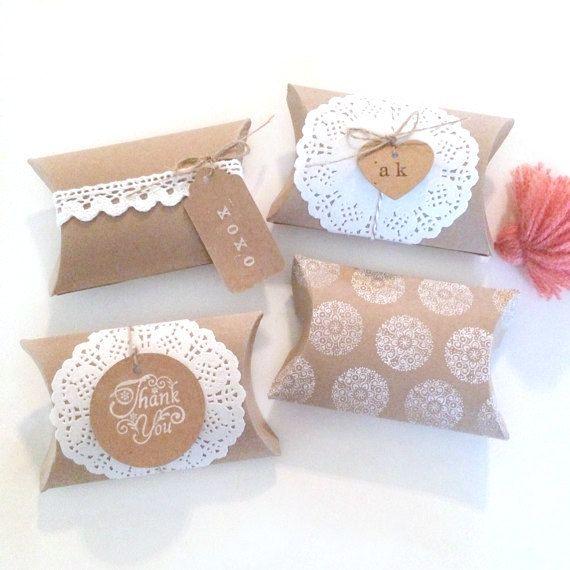 6 boîtes de kraft blanc oreiller  oreiller favor boîte  par kaalen