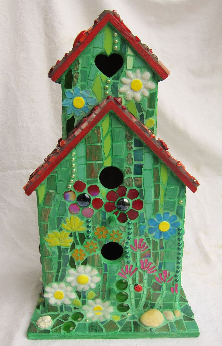 Mosaic Glass Birdhouses Love Nest Mosaic Birdhouse