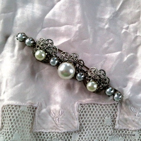 Vintage Bar Pin Brooch with Pearls and Silver Filigree work by atticville, $44.00