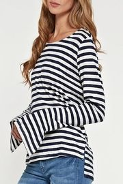 Apricot Lane Striped Linen Top-Navy - Front full body