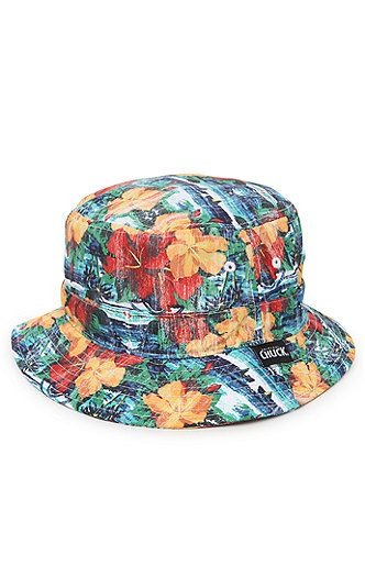 Chuck constructs a colorful men's bucket hat found at PacSun. The Captain Chuck Bucket Hat for men comes with nautical look and floral print throughout. Allover multi color print bucket hat Chuck logo loop on brim One size fits most Dry clean only 100% cotton Imported