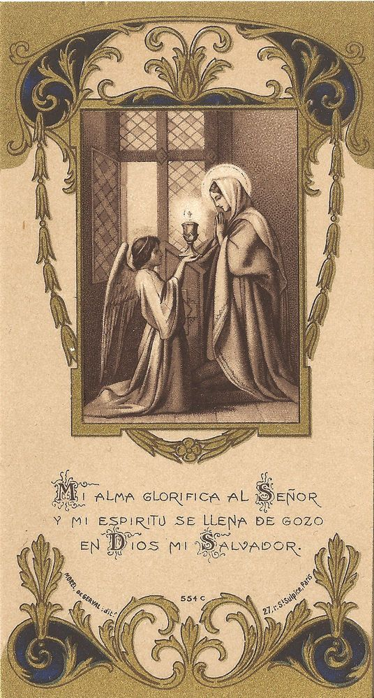 Antique Vtg Holy Spanish Prayer Card My Soul Magnifies & My Spirit Rejoices