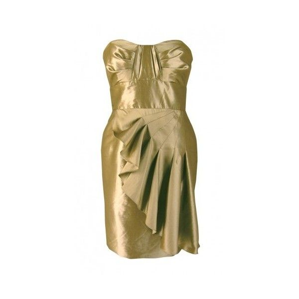 Abbey Gold Dress ❤ liked on Polyvore featuring dresses, design, cocktail dresses, brown prom dresses, evening dresses, cocktail prom dress and special occasion dresses