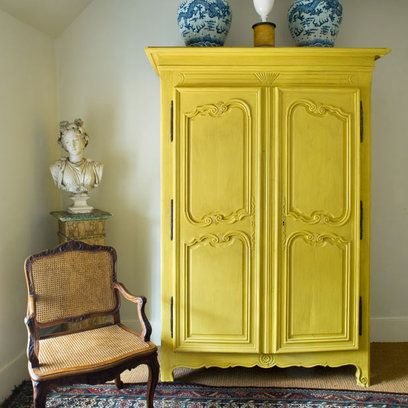 Yellow painted wardrobe