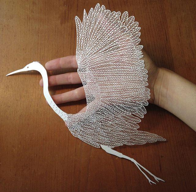 Paper carvings: Heron