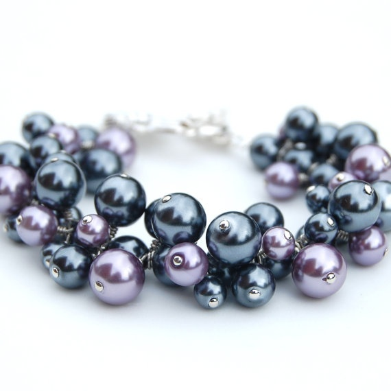 Grey Colour Earrings: Dark Gray And Purple Pearl Cluster Bracelet, Chunky Pearl