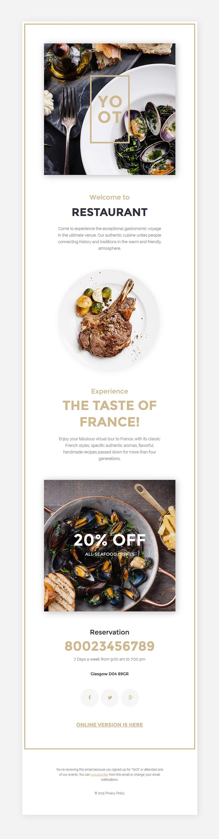 Cafe and Restaurant Responsive Newsletter Template #57614