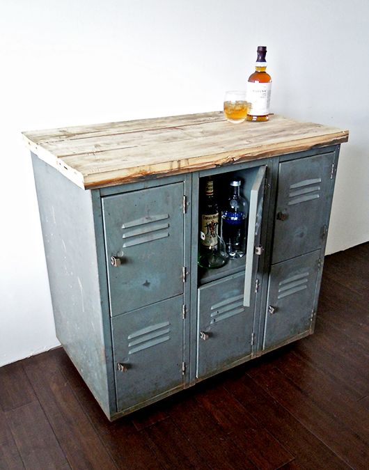 repurposed locker into bar