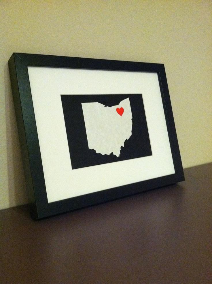 Framed 8x10 Ohio Outline. $20.00 USD, via Etsy.